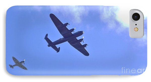 IPhone Case featuring the photograph Spitfire  Lancaster Bomber by John Williams