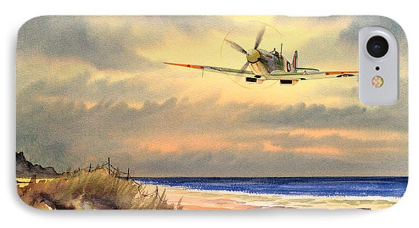 Spitfire Mk9 - Over South Coast England Phone Case by Bill Holkham