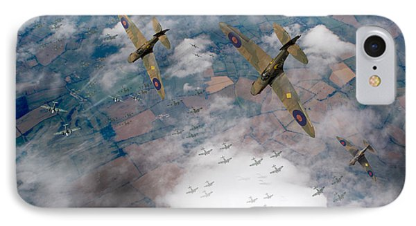 Raf Spitfires Swoop On Heinkels In Battle Of Britain IPhone 7 Case by Gary Eason