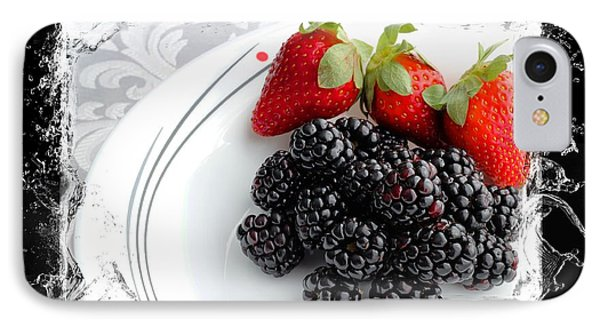 Splash - Fruit - Strawberries And Blackberries Phone Case by Barbara Griffin