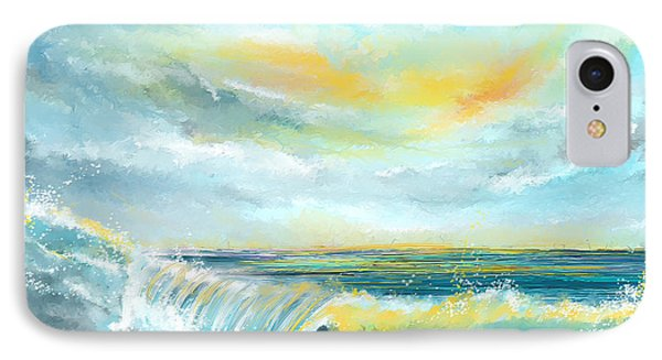 Splash Of Sun - Seascapes Sunset Abstract Painting IPhone Case by Lourry Legarde