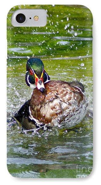 IPhone Case featuring the photograph Splashdown - Wood Duck by Adam Olsen