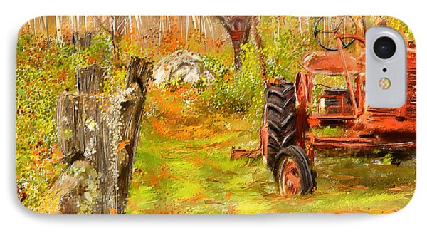Splendor Of The Past - Red Tractor Art IPhone Case by Lourry Legarde