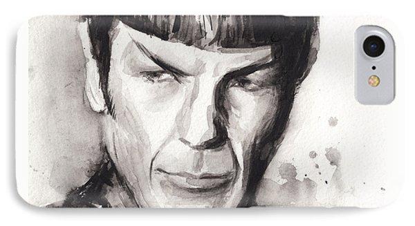 Spock Portrait Watercolor Star Trek Fan Art IPhone Case by Olga Shvartsur