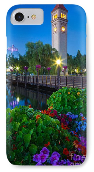 Spokane Clocktower By Night Phone Case by Inge Johnsson