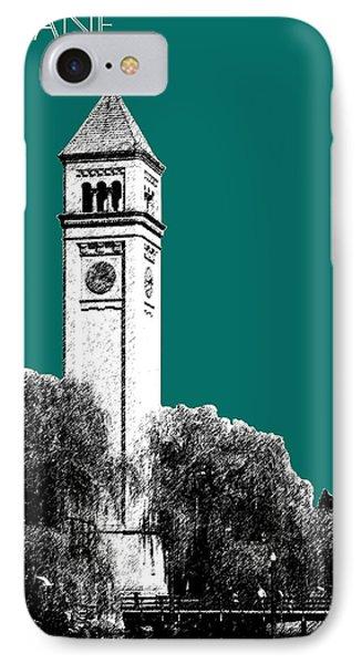 Spokane Skyline Clock Tower - Sea Green Phone Case by DB Artist