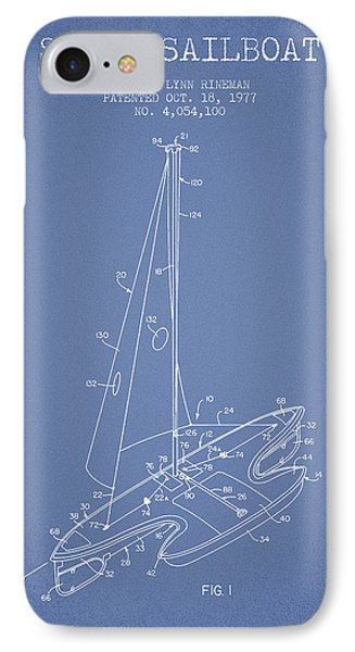 Sport Sailboat Patent From 1977 - Light Blue IPhone Case by Aged Pixel
