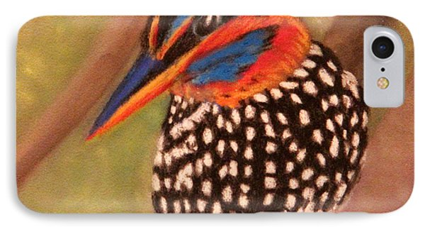 IPhone Case featuring the painting Spotted Wood Kingfisher by Janet Greer Sammons