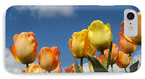 Spring Blue Sky White Clouds Orange Tulip Flowers Phone Case by Baslee Troutman