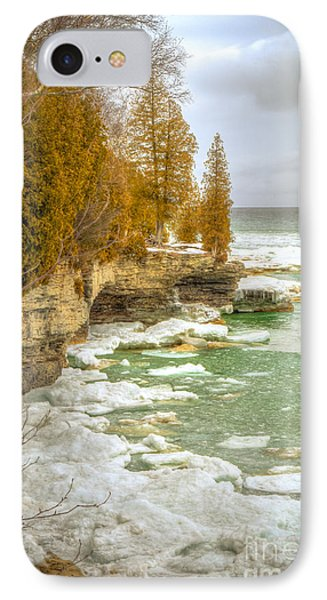 IPhone Case featuring the photograph Spring Breaking Through At Cave Point by Mark David Zahn