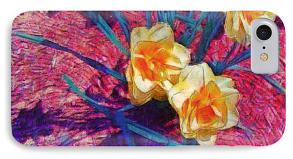 Spring Daffodils On Red - Square IPhone Case
