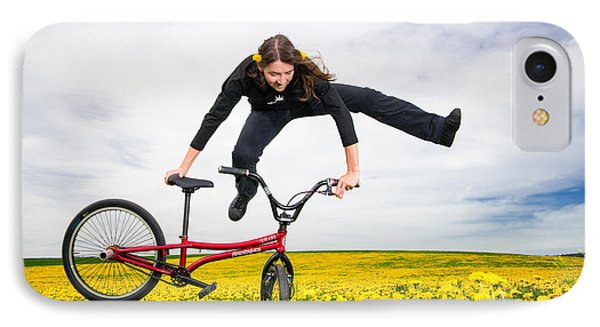 Spring Has Sprung - Bmx Flatland Artist Monika Hinz Jumping In Yellow Flower Meadow Phone Case by Matthias Hauser