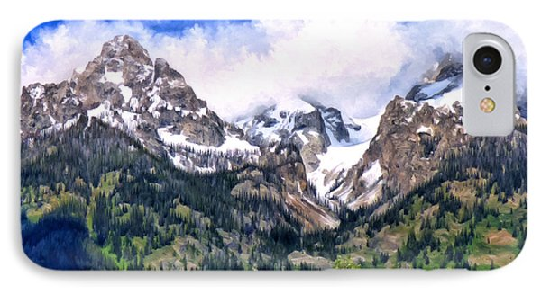 IPhone Case featuring the painting Spring In The Grand Tetons by Michael Pickett
