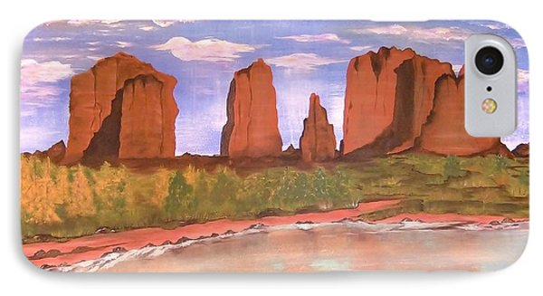 IPhone Case featuring the painting Spring Mist At Cathedral Rock Oak Creek Sedona by Cindy Micklos