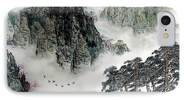 Spring Mountains And The Great Wall IPhone Case by Yufeng Wang