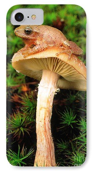 Spring Peeper On Mushroom IPhone Case by Gary Meszaros