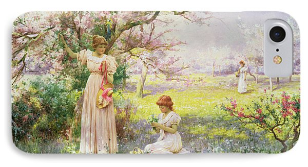 Spring   Picking Flowers Phone Case by Alfred Augustus I Glendenning