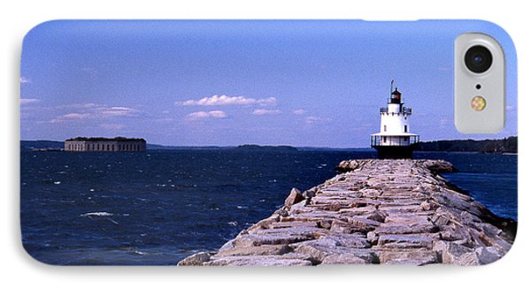 Spring Point Ledge Lighthouse Phone Case by Skip Willits