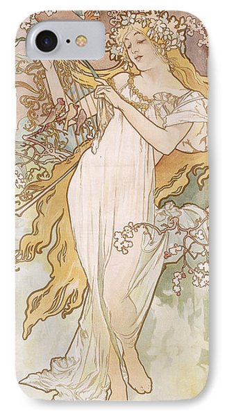 Spring Printemps IPhone Case by Alphonse Marie Mucha