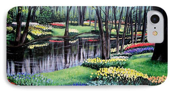IPhone Case featuring the painting Spring Spendor Tulip Garden by Patricia L Davidson