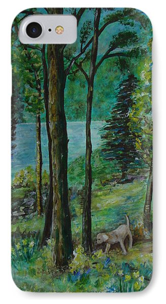 Spring Woodland With Dog - Painting IPhone Case
