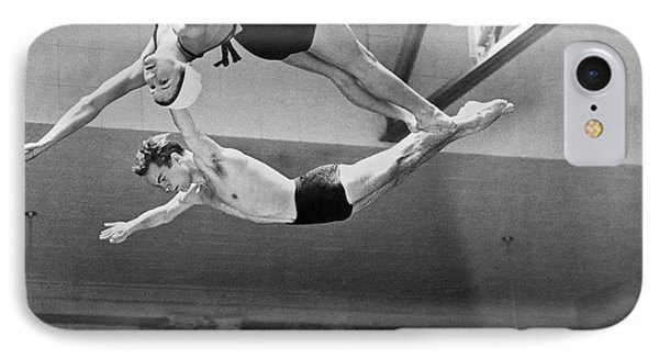 Springboard Diving Champions IPhone Case by Underwood Archives