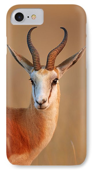 Springbok  Portrait IPhone Case by Johan Swanepoel