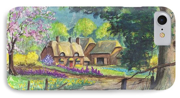 Springtime Cottage IPhone Case by Carol Wisniewski