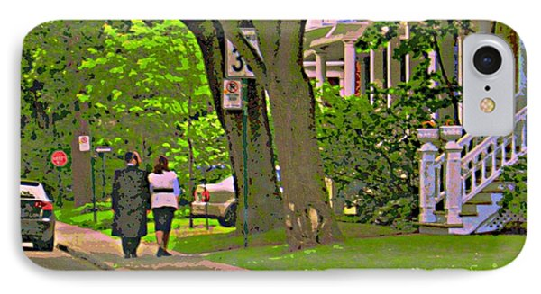 Springtime Stroll Through Beautiful Tree Lined Outremont Montreal Street Scene Art By Carole Spandau Phone Case by Carole Spandau