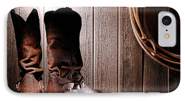 Spurs On Cowboy Boots Heels Phone Case by Olivier Le Queinec