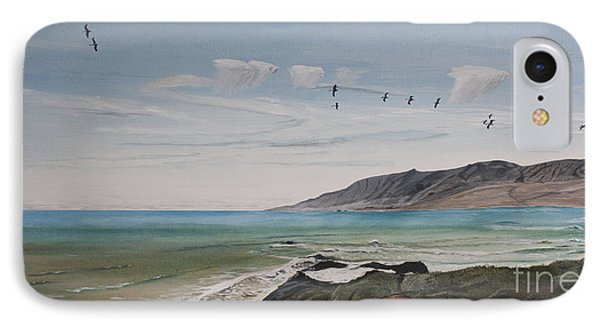 IPhone Case featuring the painting Squadron Of Pelicans Central Califonia by Ian Donley