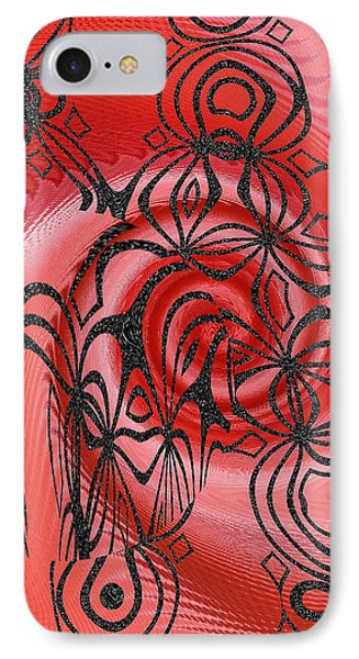 Square In Red With Black Drawing No 1 IPhone Case by Ben and Raisa Gertsberg