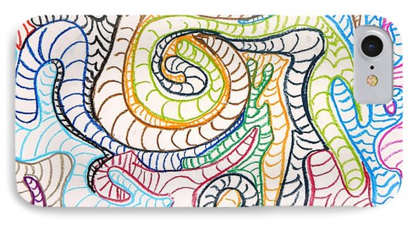 IPhone Case featuring the drawing Squiggle Worm by Artists With Autism Inc