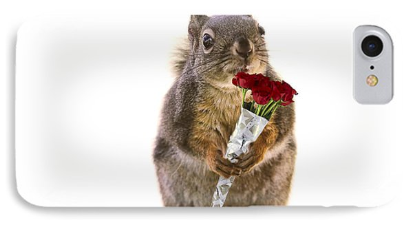 Squirrel With A Dozen Red Roses IPhone Case by Peggy Collins