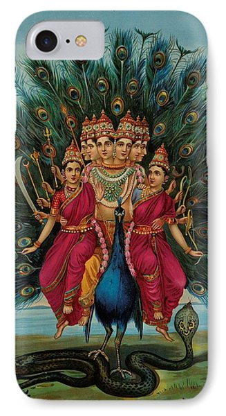 Sri Shanmukaha Subramania Swami IPhone Case by Raja Ravi Varma