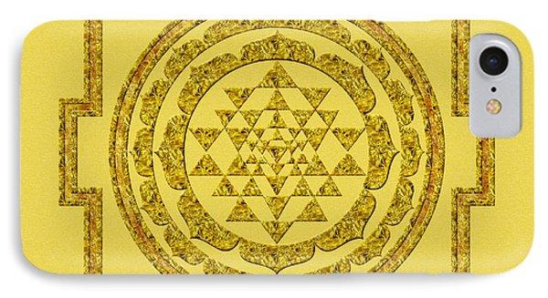 Sri Yantra In Gold IPhone Case by Olga Hamilton