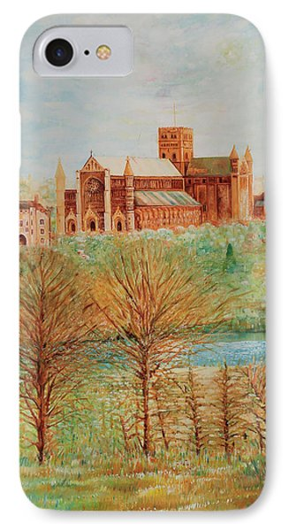 IPhone Case featuring the painting St Albans Abbey - Autumn View by Giovanni Caputo