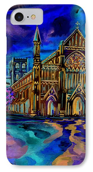 IPhone Case featuring the digital art St Albans Abbey - Night View by Giovanni Caputo