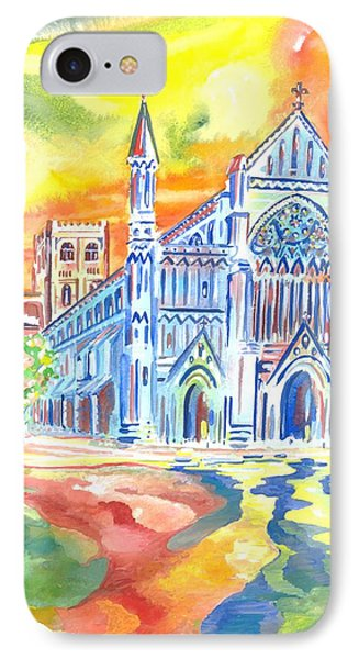 IPhone Case featuring the painting St Albans Abbey - Rainbow Celebration by Giovanni Caputo