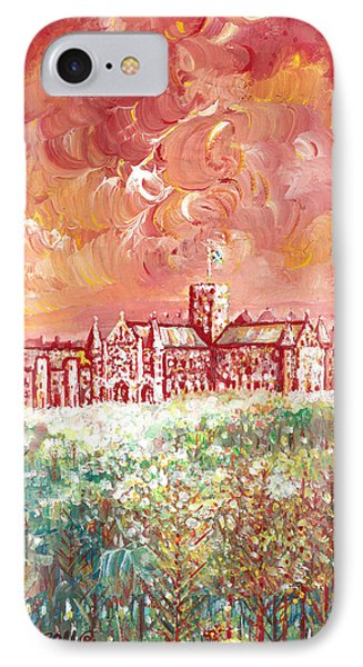 IPhone Case featuring the painting St Albans Abbey - Stormy Weather by Giovanni Caputo