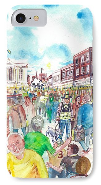 IPhone Case featuring the painting St Albans - Market People by Giovanni Caputo