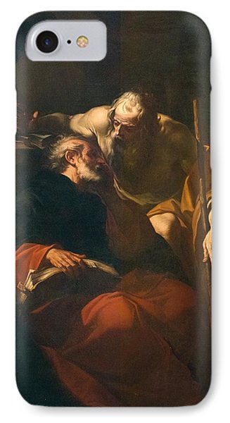 St. Benedict And A Hermit IPhone Case by Domenico Maria Viani