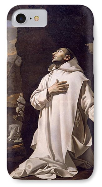 St Bruno Praying In Desert IPhone Case by Nicolas Mignard