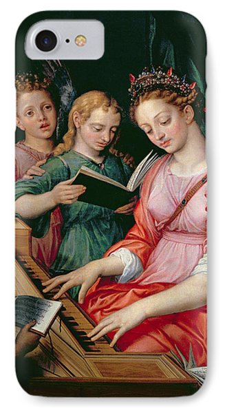 Saint Cecilia Accompanied By Three Angels IPhone Case by Michiel I Coxie or Coxcie