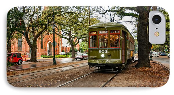 St. Charles Ave. Streetcar In New Orleans Phone Case by Kathleen K Parker