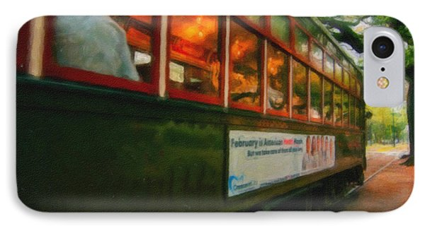 St. Charles Ave Streetcar Whizzes By - Digital Art Phone Case by Kathleen K Parker