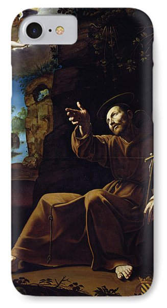 St. Francis Of Assisi Consoled By An Angel Musician Oil On Canvas IPhone Case by Italian School