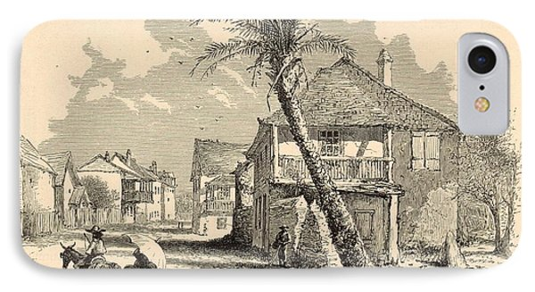 St. Francis Street In St. Augustine 1872 Engraving IPhone Case by Antique Engravings