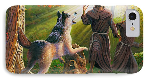 St. Francis Taming The Wolf Phone Case by Steve Simon