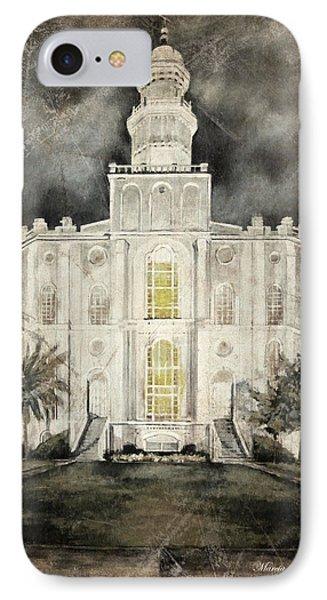 St. George Utah Temple At Night IPhone Case